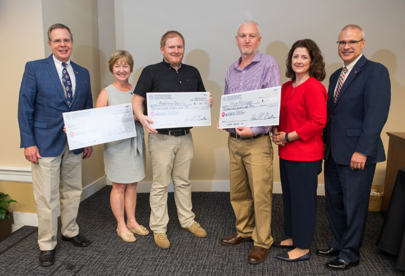 Writing 100/101 core lecturers Karen Forgette, Andrew Davis, and Guy Krueger won the 2017 Team Award. They are pictured with Chancellor Vitter, Dr. Meaghan Duff of Educause, and Provost Wilkin.