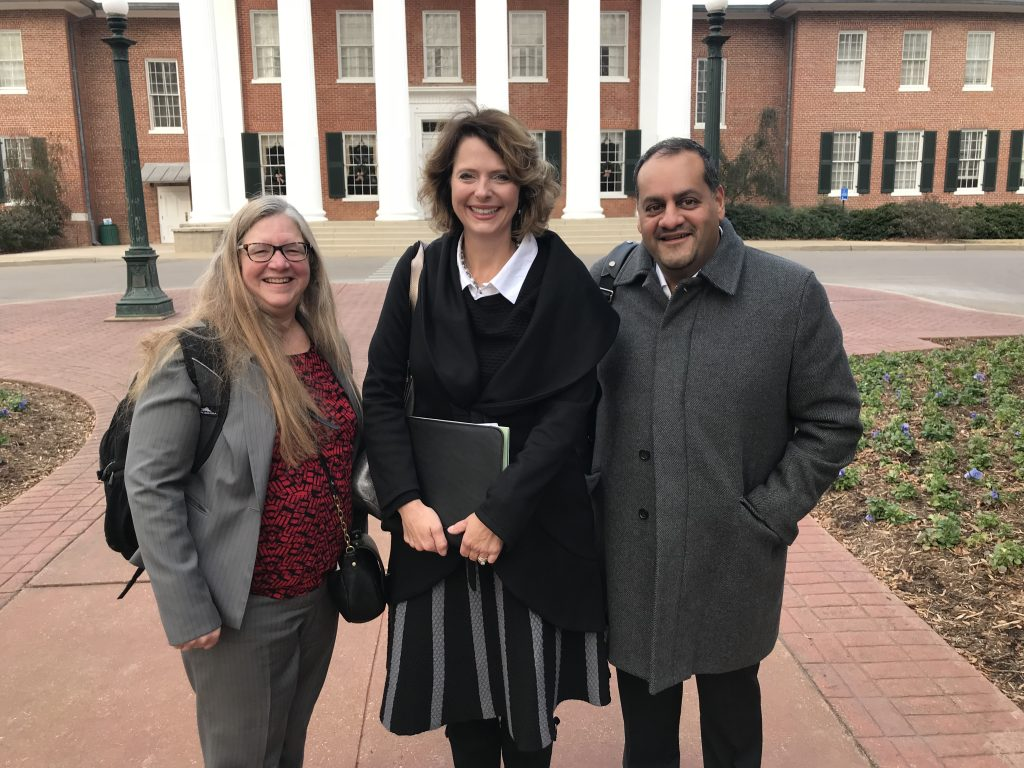 Karen Vignare (APLU), Stacey Guney (DLSN), and Rahim Rajan (BMGF) visited Ole Miss in December 2017.