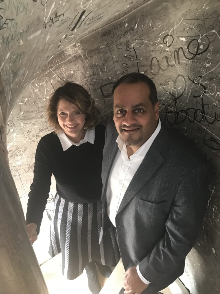 Stacey Guney (DLSN) and Rahim Rajan (BMGF) in the Ventress Hall tower.